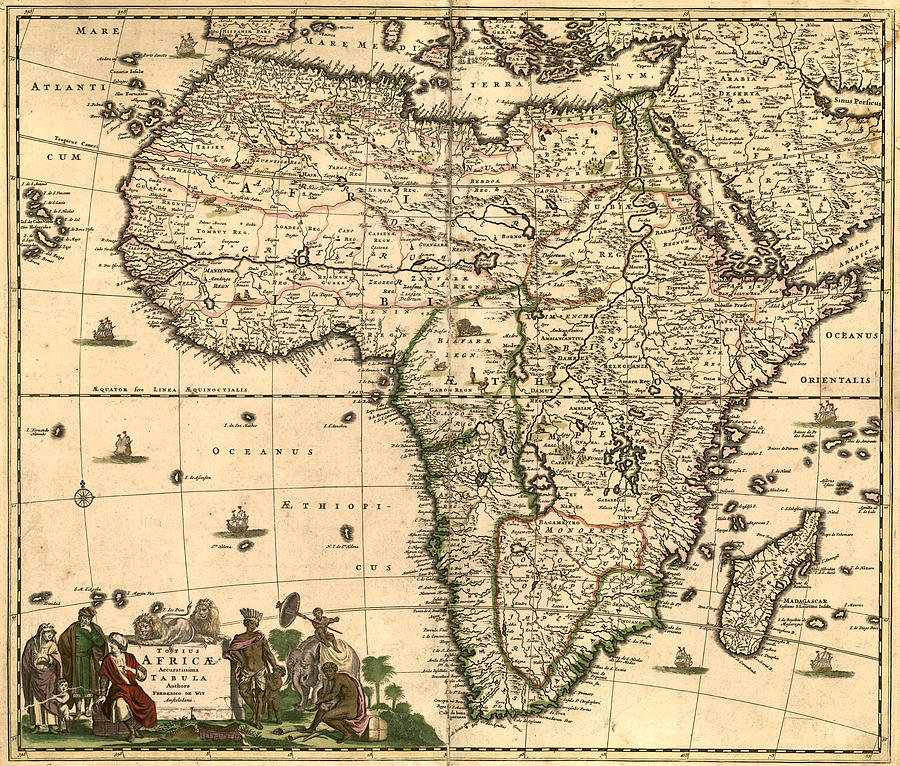 Antique Africa Map Digital Art