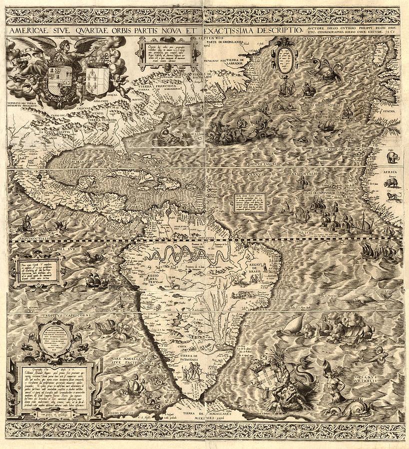 Antique America Map Digital Art