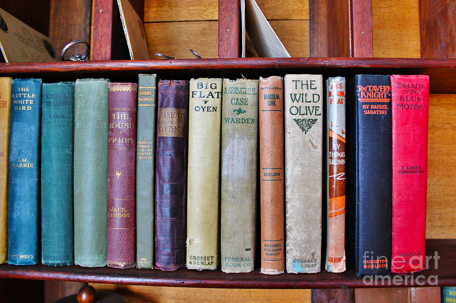 Antique Books On Shelf From 1860 Photograph