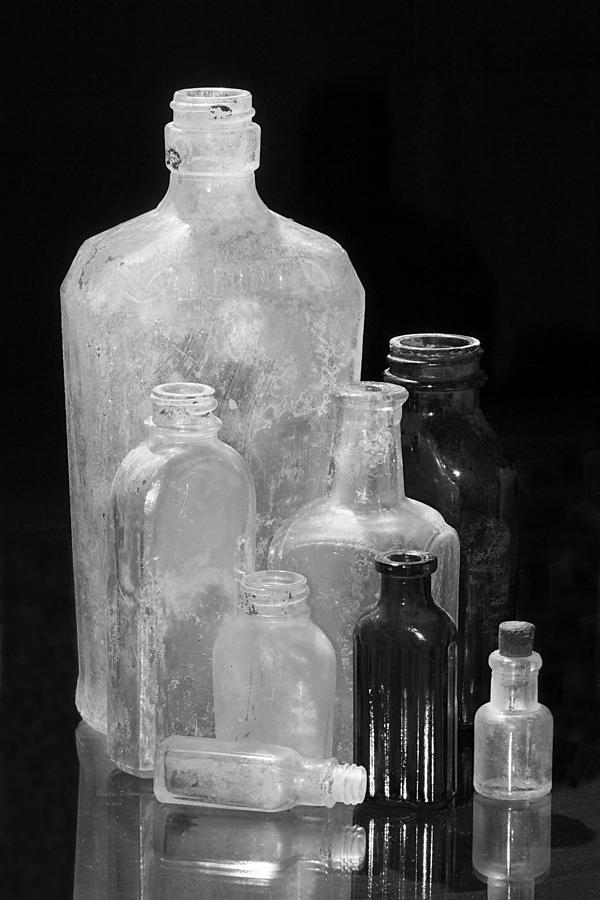 Antique Bottles 4 Black And White Photograph
