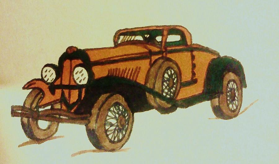 Antique Car Drawing  - Antique Car Fine Art Print