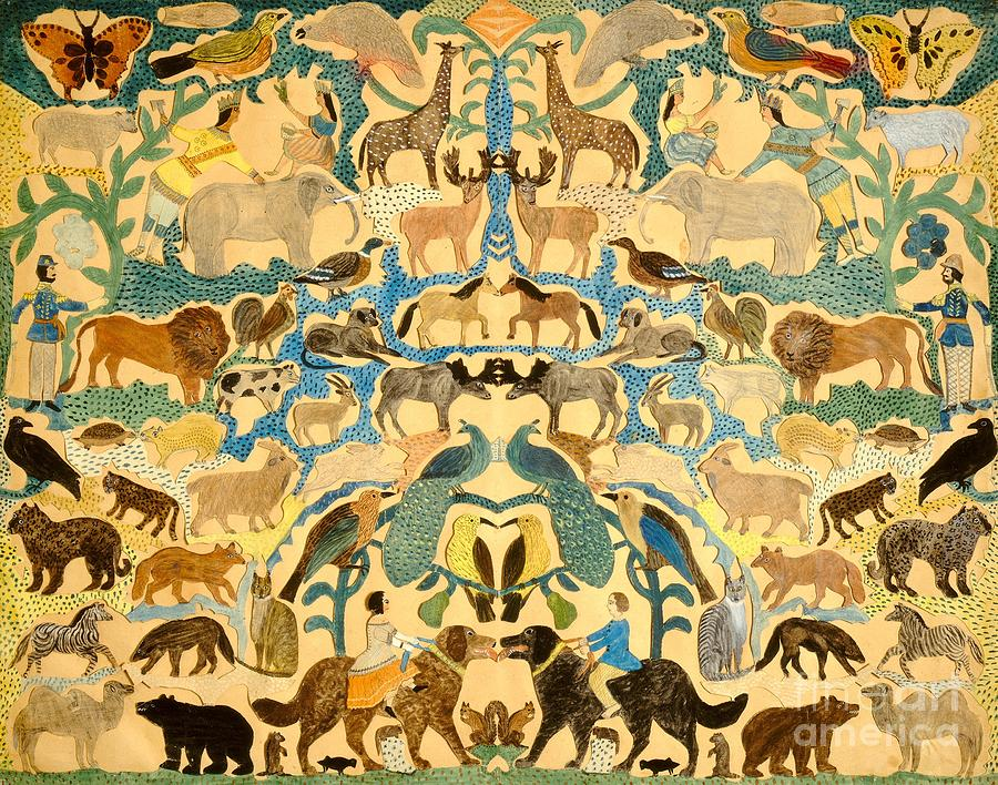 Antique Cutout Of Animals Painting