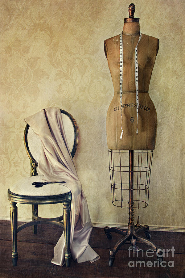 Antique Dress Form And Chair With Vintage Feeling Photograph  - Antique Dress Form And Chair With Vintage Feeling Fine Art Print