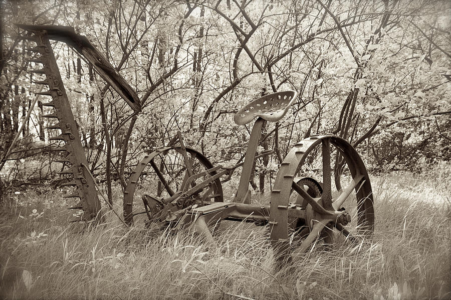 Antique Field Mower For The Farm - Sepia Tones Photograph  - Antique Field Mower For The Farm - Sepia Tones Fine Art Print