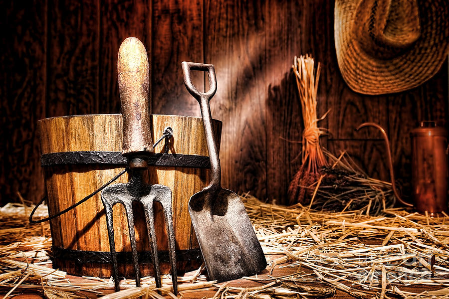 Antique Gardening Tools Photograph  - Antique Gardening Tools Fine Art Print
