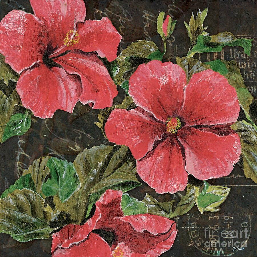 Antique Hibiscus Black 2 Painting  - Antique Hibiscus Black 2 Fine Art Print