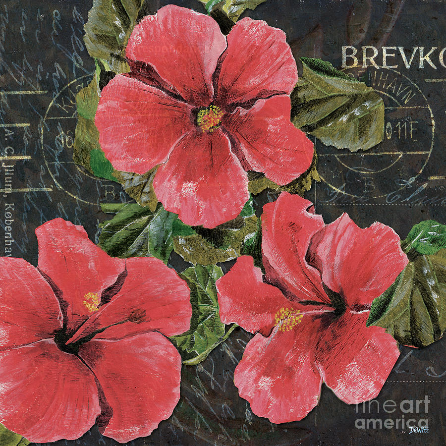 Antique Hibiscus Black 3 Painting