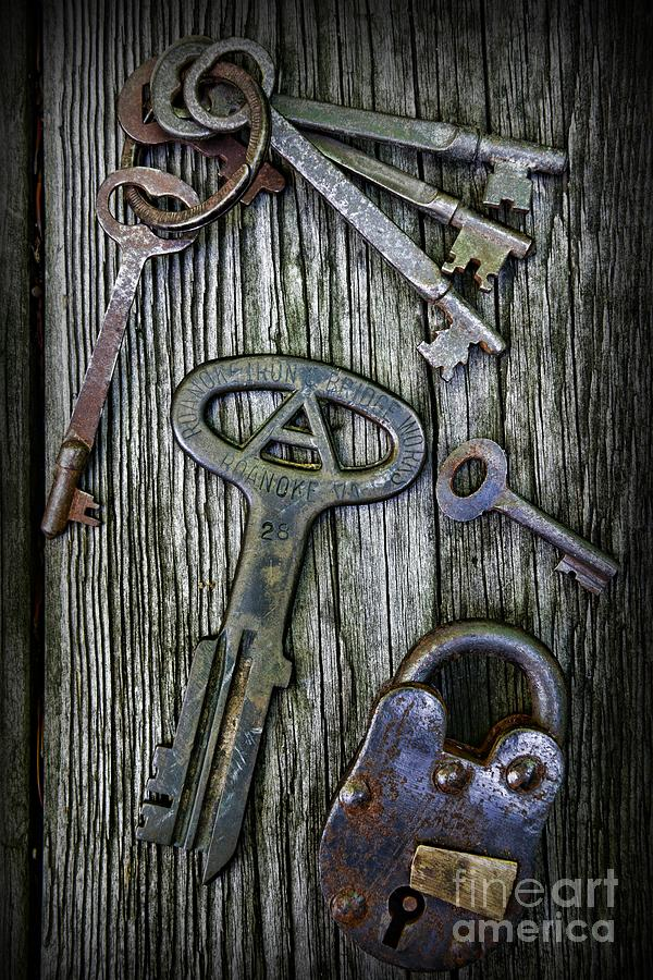 Antique Keys And Padlock Photograph