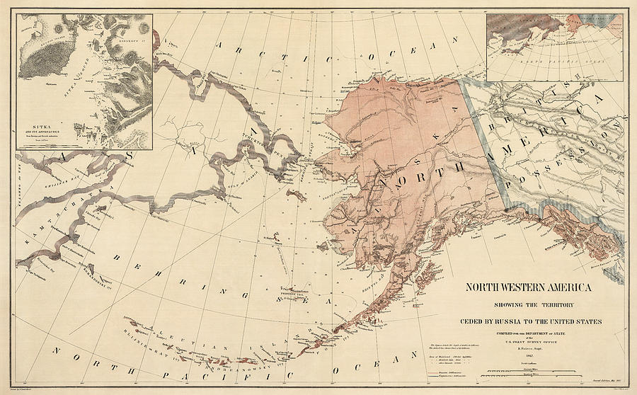 Antique Map Of Alaska  1867 Drawing By Blue Monocle