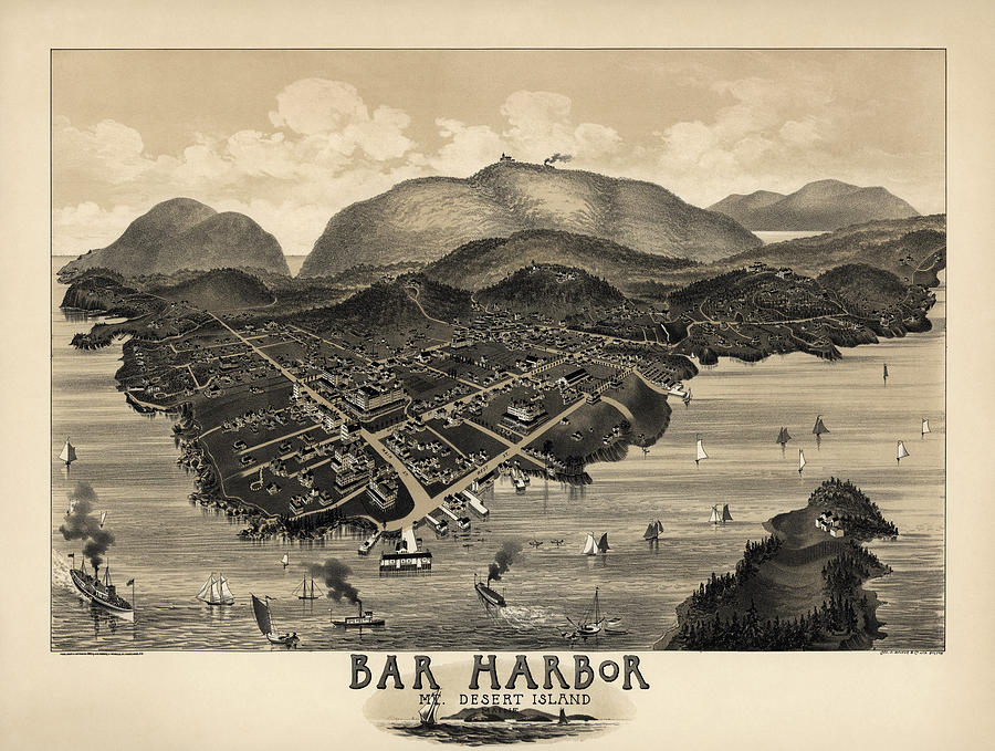 Bar Harbor Drawing - Antique Map Of Bar Harbor Maine By G. W. Morris - 1886 by Blue Monocle