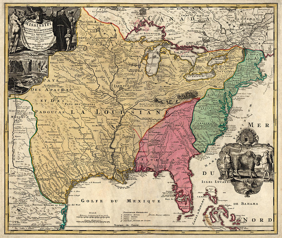 Antique Map Of Colonial America By Johann Baptist Homann Circa 1763 Drawing