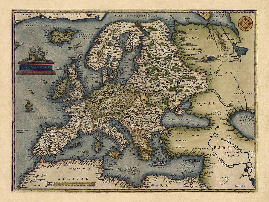 Antique Map Of Europe By Abraham Ortelius - 1570 Drawing