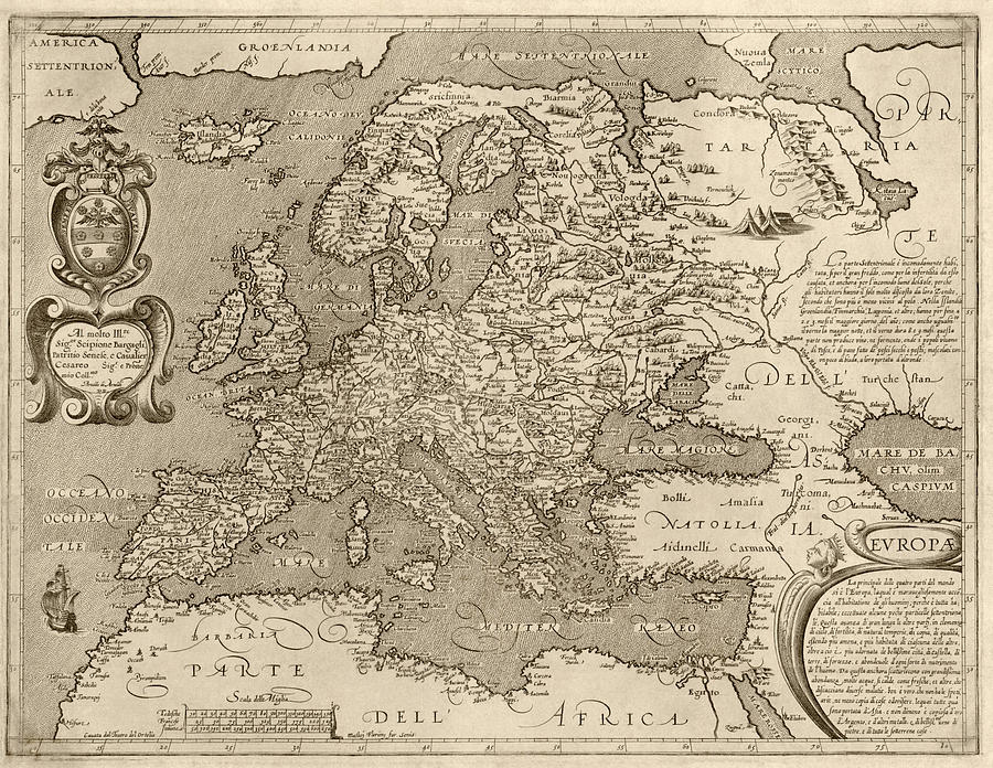 Antique Map Of Europe By Arnoldo Di Arnoldi - Circa 1600 Drawing