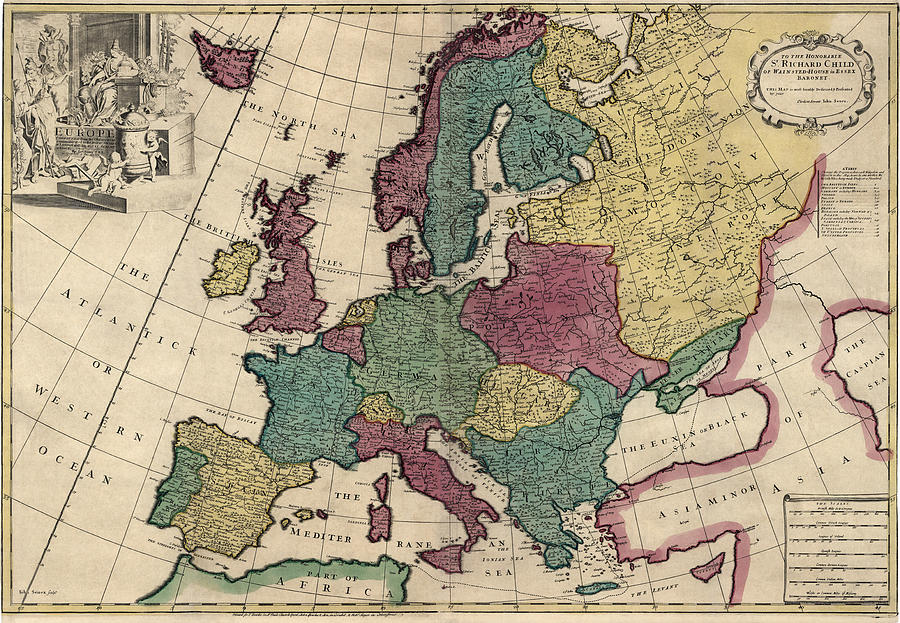 Europe Drawing - Antique Map Of Europe By John Senex - Circa 1719 by Blue Monocle