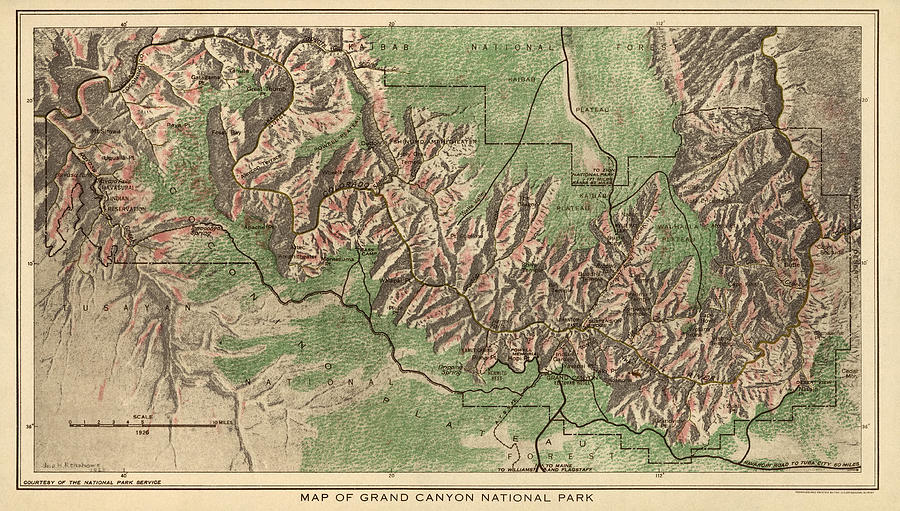 Grand Canyon National Park Drawing - Antique Map Of Grand Canyon National Park By The National Park Service - 1926 by Blue Monocle