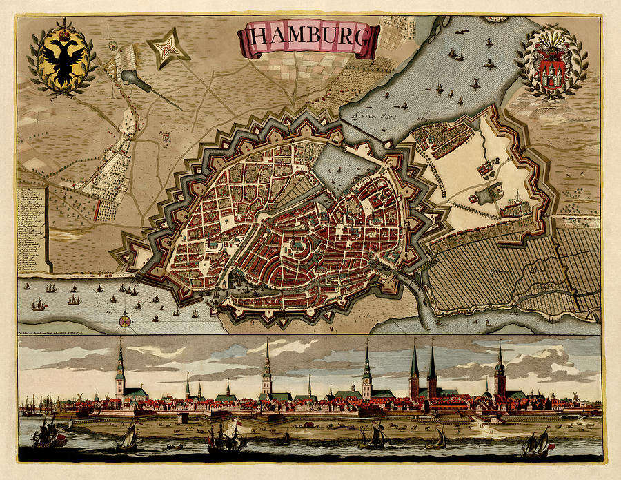 Antique Map Of Hamburg Germany By Pieter Schenk - Circa 1702 Drawing