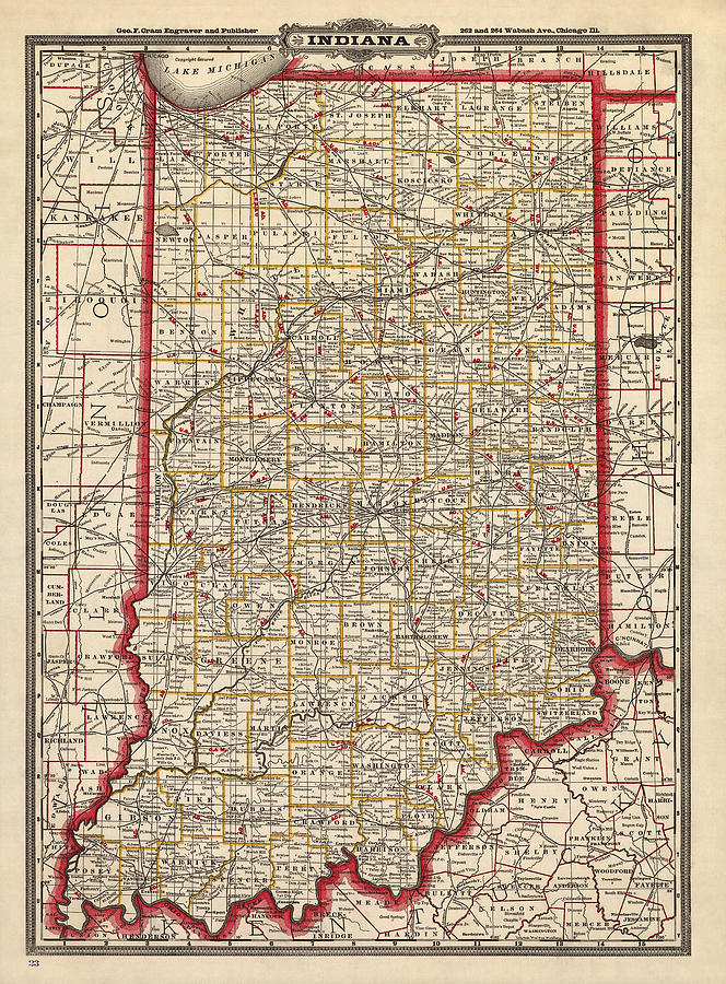 Indiana Drawing - Antique Map Of Indiana By George Franklin Cram - 1888 by Blue Monocle