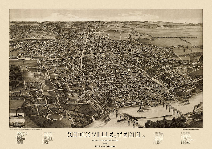 Antique Map Of Knoxville Tennessee By H. Wellge - 1886 Drawing