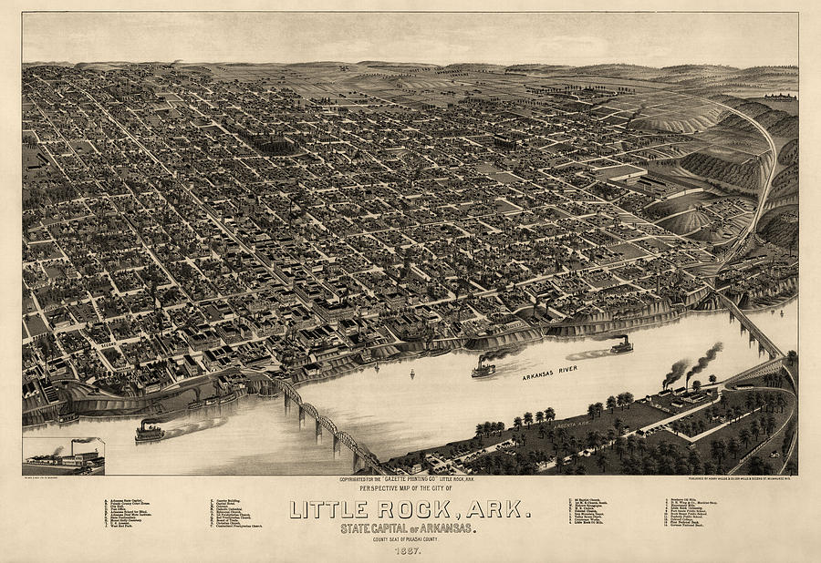 Antique Map Of Little Rock Arkansas By H. Wellge - 1887 Drawing