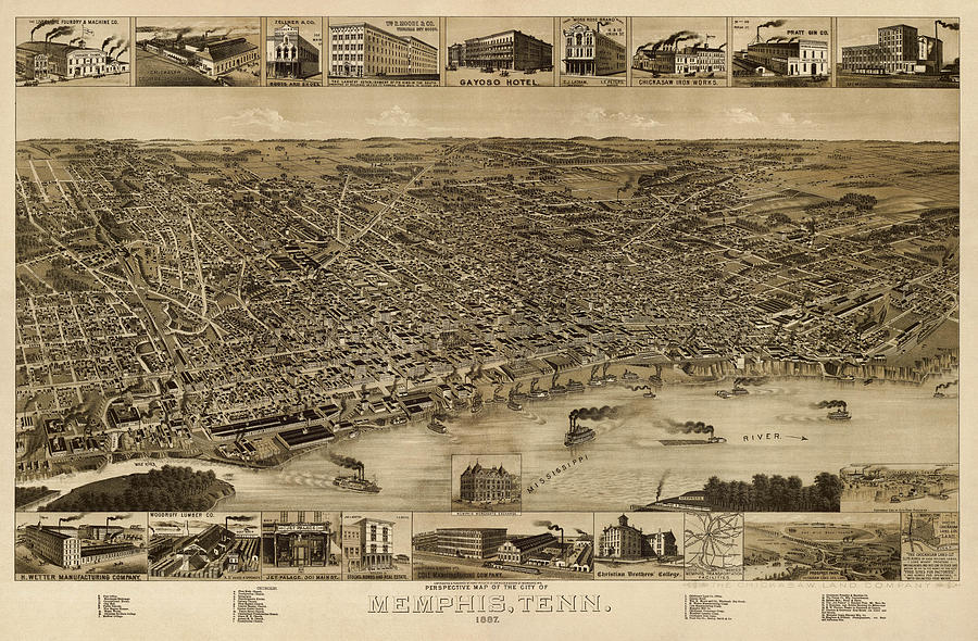 Antique Map Of Memphis Tennessee By H. Wellge - 1887 Drawing