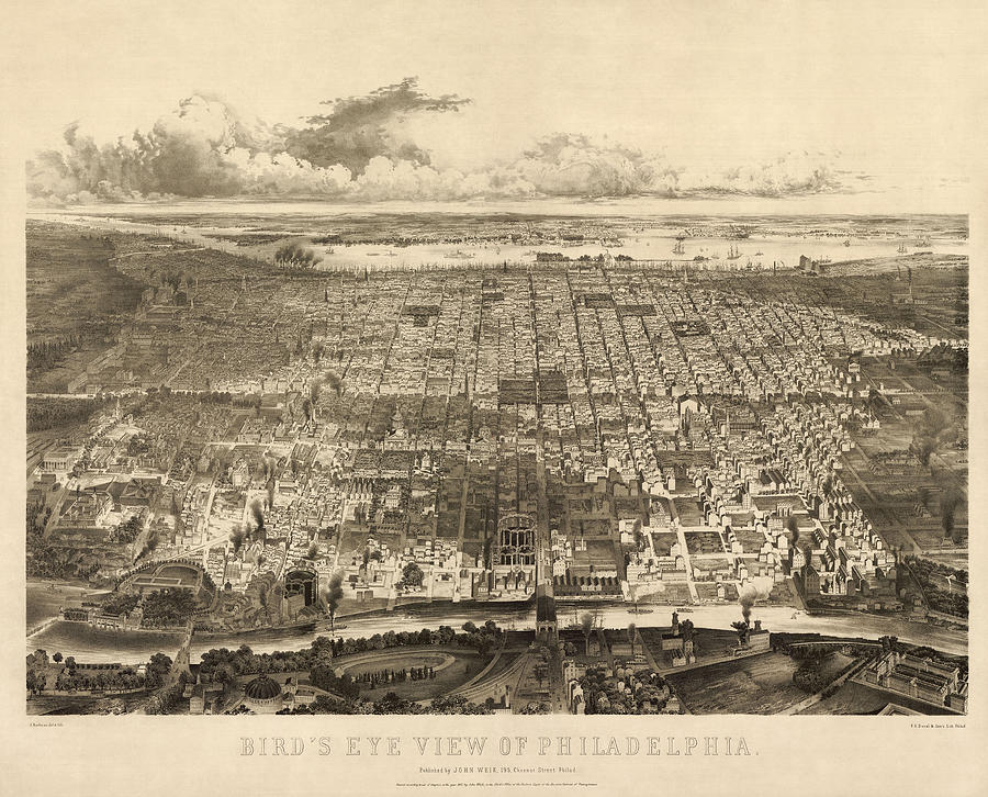 Antique Map Of Philadelphia By John Bachmann - 1857 Drawing