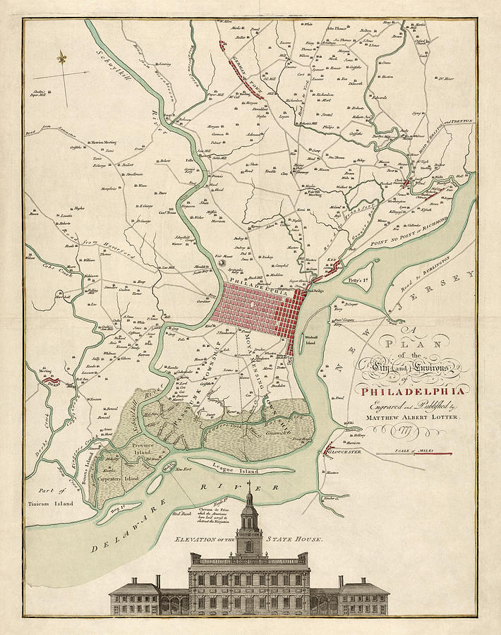Philadelphia Drawing - Antique Map Of Philadelphia By Matthaus Albrecht Lotter - 1777 by Blue Monocle