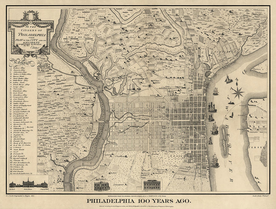 Antique Map Of Philadelphia By P. C. Varte - 1875 Drawing