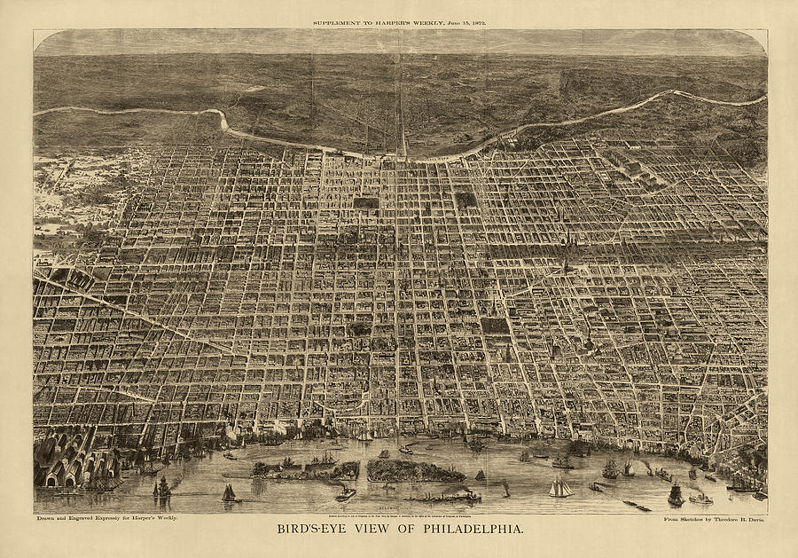 Antique Map Of Philadelphia By Theodore R. Davis - 1872 Drawing