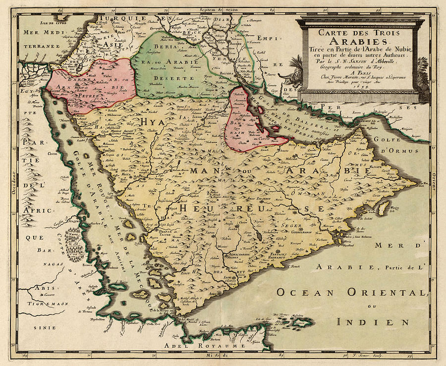 Saudi Arabia Drawing - Antique Map Of Saudi Arabia And The Arabian Peninsula By Nicolas Sanson - 1654 by Blue Monocle