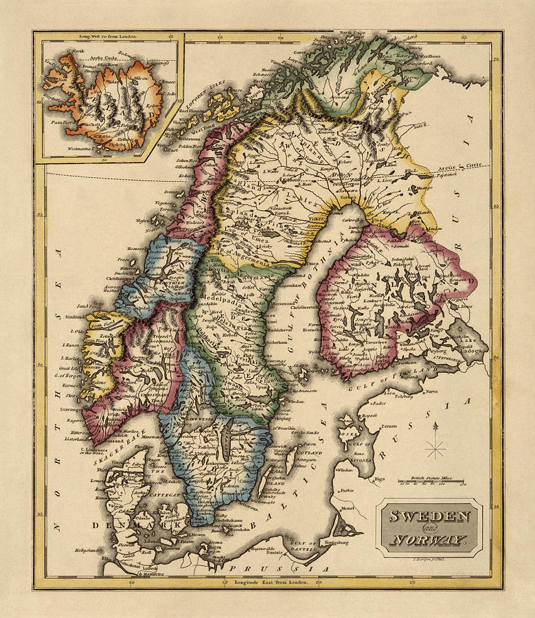 Antique Map Of Scandinavia By Fielding Lucas - Circa 1817 Drawing