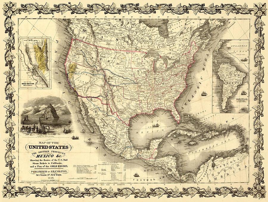 Antique North America Map Digital Art