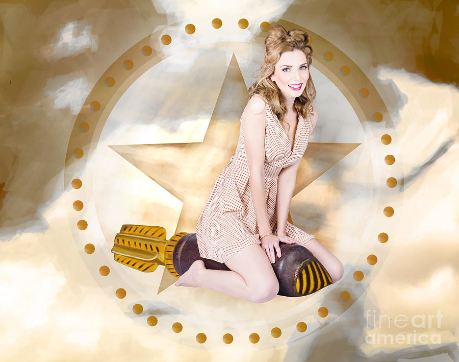 Antique Pin-up Girl On Missile. Bombshell Blond Photograph