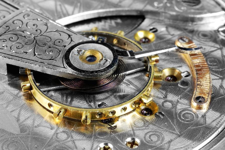 Wheel Photograph - Antique Pocketwatch Balance Wheel by Jim Hughes