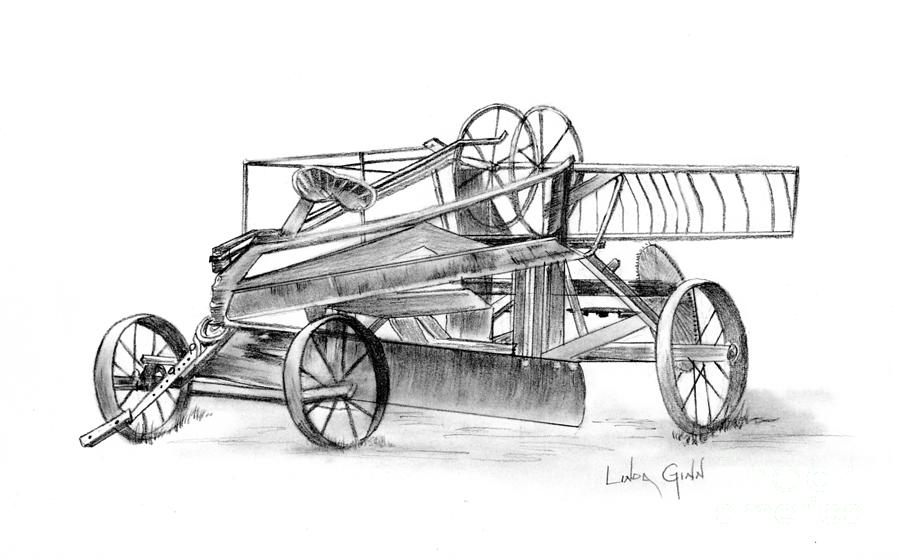 Antique Tractor Drawing  - Antique Tractor Fine Art Print