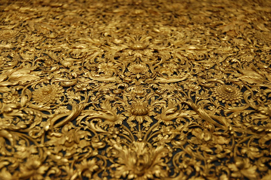 ... Antique Treasure Golden Wood Carving Of Floral Patterns by Cindy Xiao