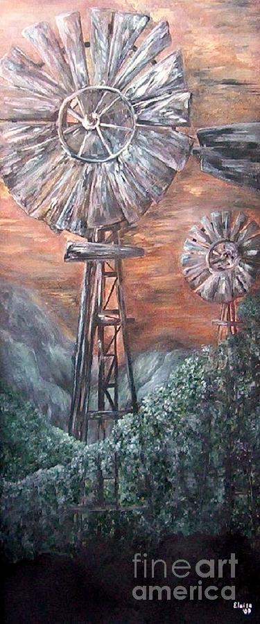 Antique Windmills At Dusk Painting