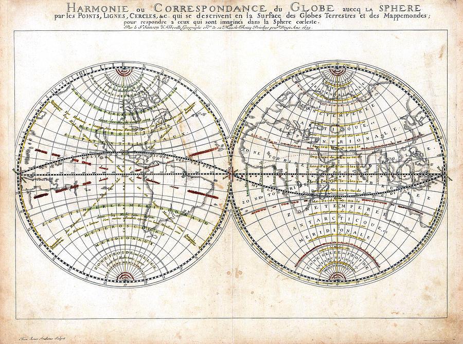 1659 Photograph - Antique World Map Harmonie Ou Correspondance Du Globe 1659 by Karon Melillo DeVega