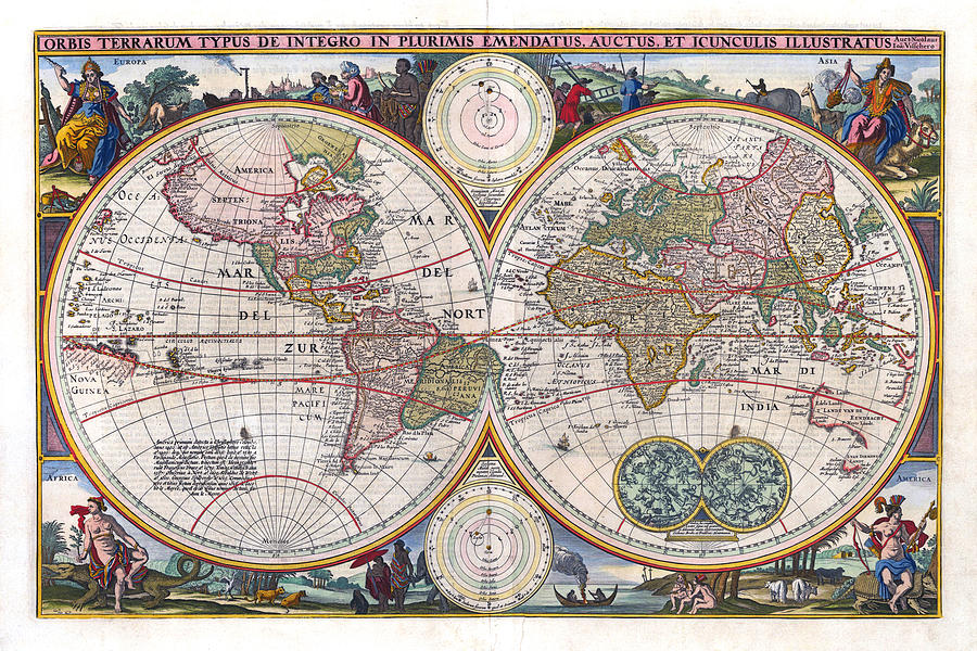 Antique World Map Orbis Terrarum Typus De Integro In Plurimis Emendatus 1657 Photograph  - Antique World Map Orbis Terrarum Typus De Integro In Plurimis Emendatus 1657 Fine Art Print