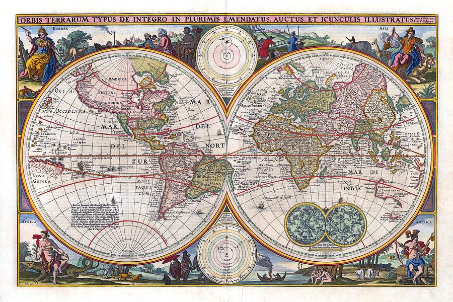 Antique World Map Orbis Terrarum Typus De Integro In Plurimis Emendatus 1657 Photograph