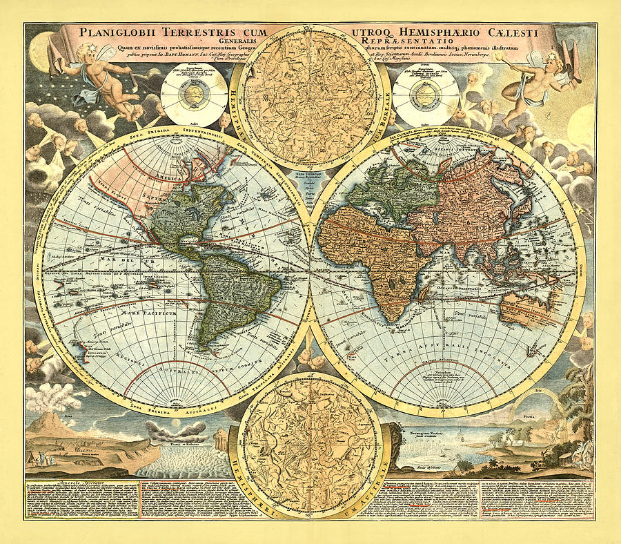 Antique World Mercator Map Digital Art