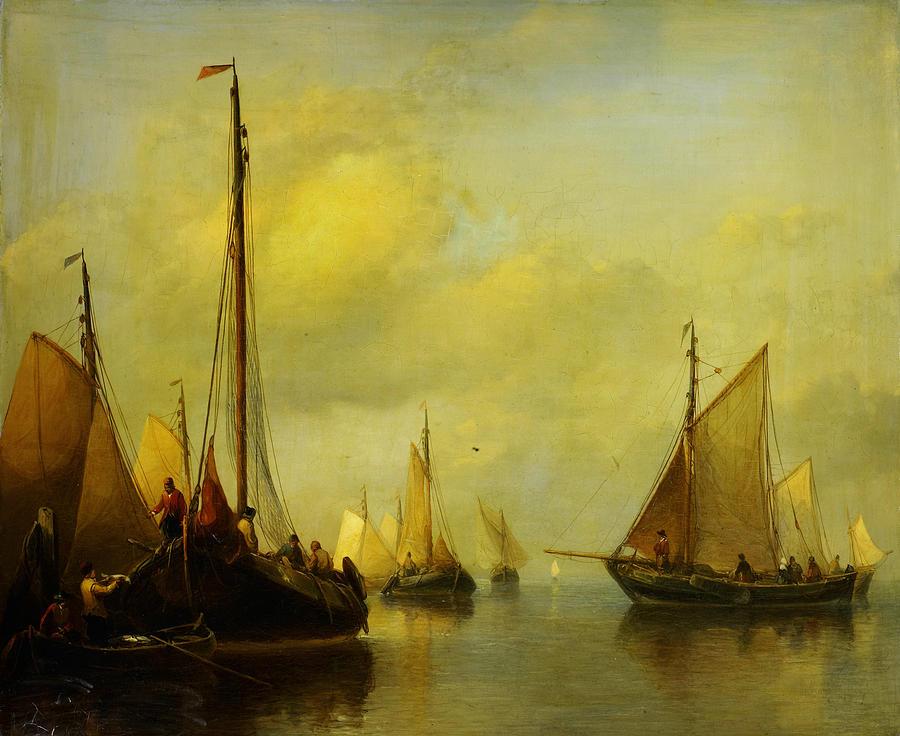 Antonie Waldorp Vissersboten Op Kalm Water Painting