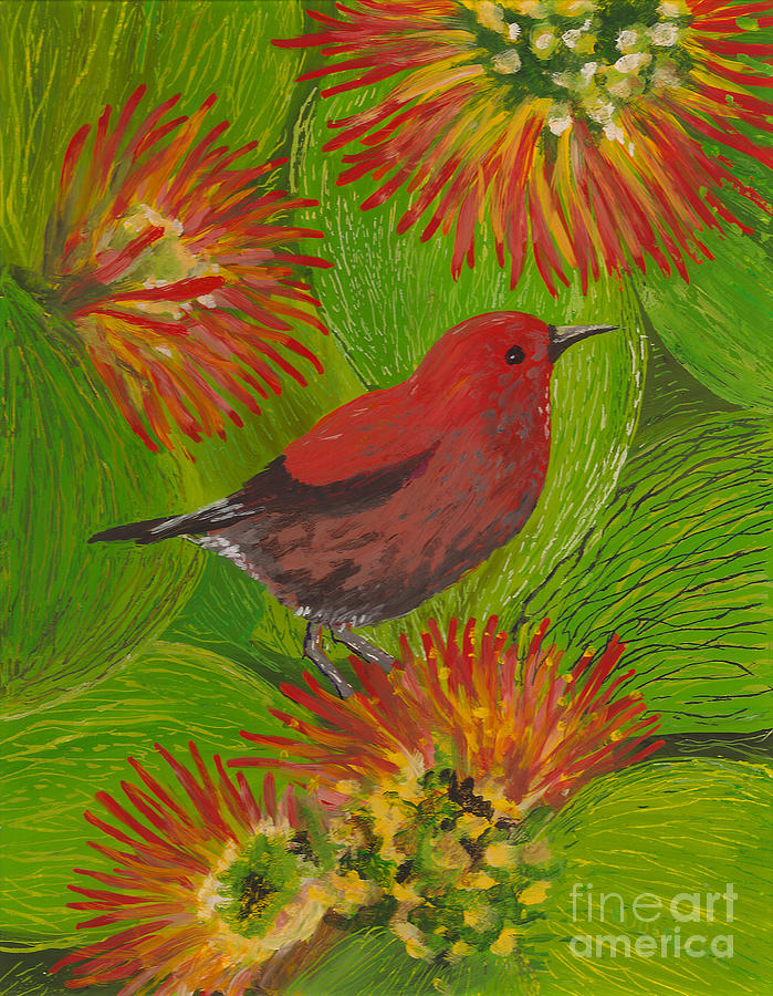 Hawaii Birds Painting - apapane by Anna Skaradzinska