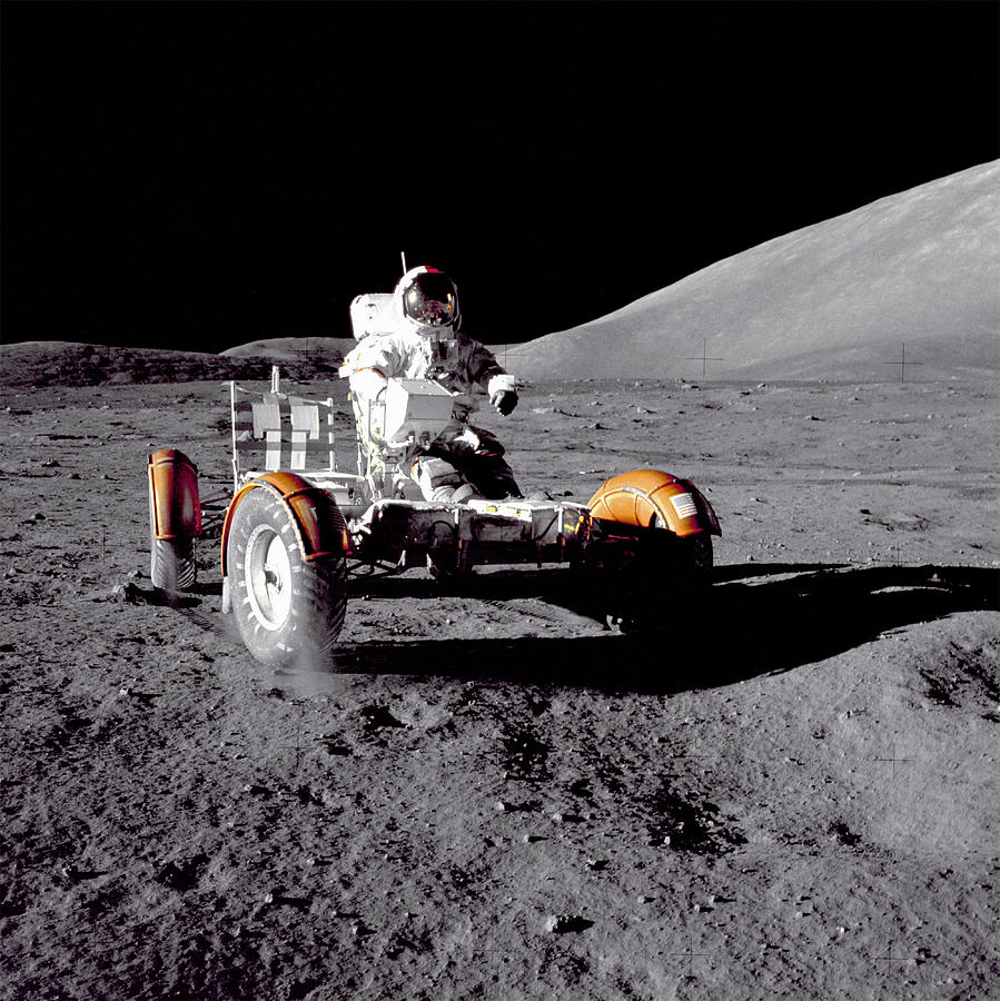 Apollo 17 Moon Rover Ride Photograph