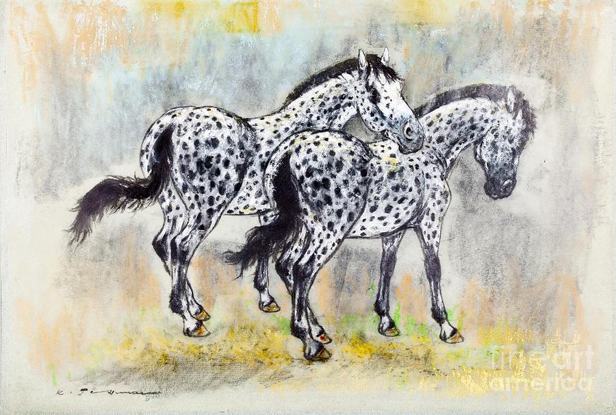 Appaloosa Painting - Appaloosa Horses by Kurt Tessmann