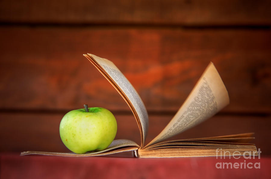 Apple And Book Photograph  - Apple And Book Fine Art Print