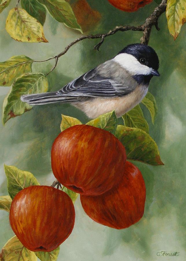 Apple Chickadee Greeting Card 2 Painting