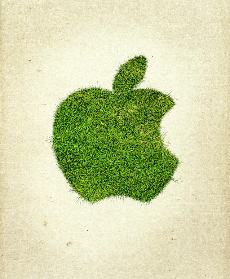 Apple Logo Photograph - Apple Grass Logo by Aged Pixel