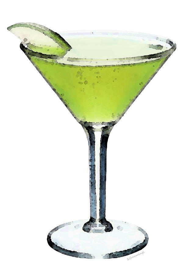 Apple Martini - Appletini - Cocktails Painting  - Apple Martini - Appletini - Cocktails Fine Art Print