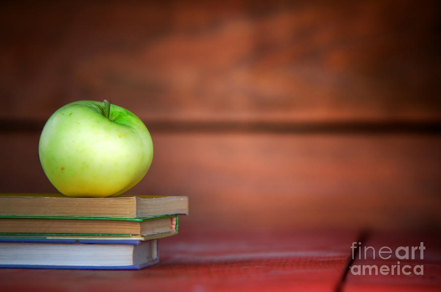 Apple On Pile Of Books Photograph  - Apple On Pile Of Books Fine Art Print