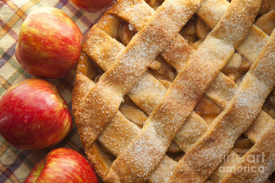 Apple Pie With Lattice Crust Photograph  - Apple Pie With Lattice Crust Fine Art Print